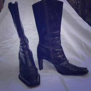 Alligator embossed dark brown leather boots